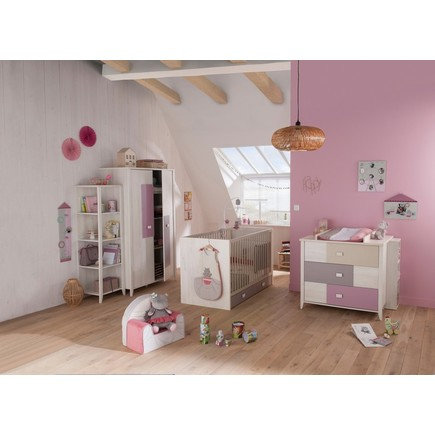 Chambre Lit 70x140 commode armoire CHARLY Rose