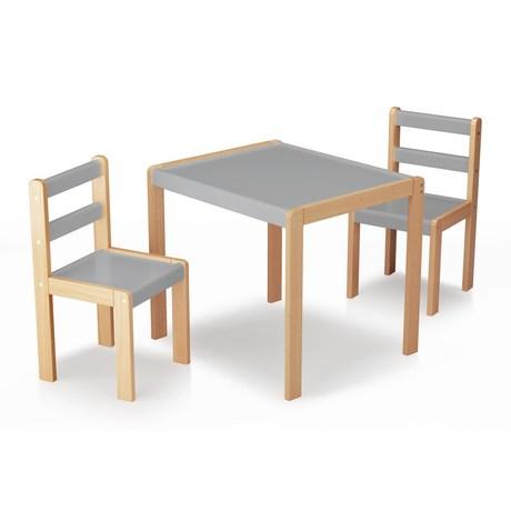 ensemble petite table et 2 chaises bois et gris vente en. Black Bedroom Furniture Sets. Home Design Ideas
