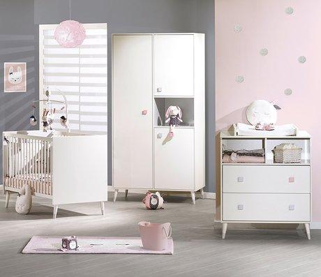 Chambre bébé Lit 140x70 commode armoire Candie