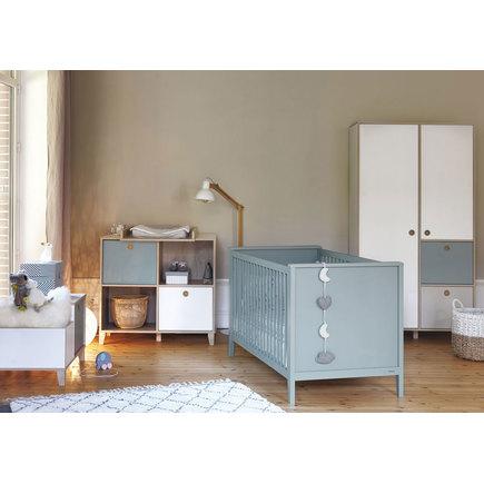 Chambre TRIO Lit Commode Armoire bleu LORA