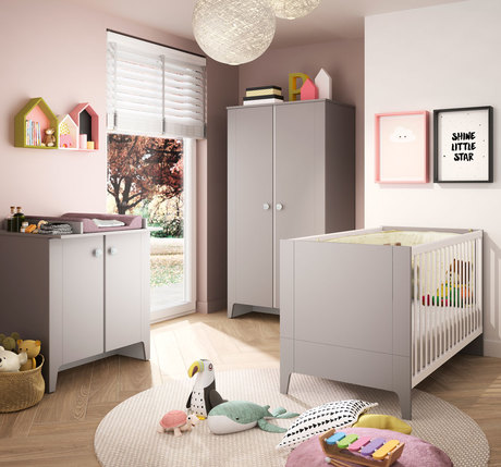 Chambre GUIMAUVE lit 70x140 + Commode + Armoire BEBE9 CREATION
