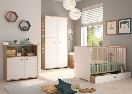 Chambre INTIMI Lit 60x120+Commode+Armoire BEBE9 CREATION