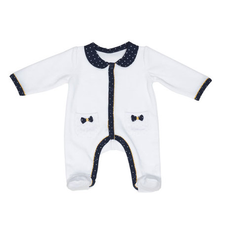 577089de57e40 Pyjama Velours Blanc Fille 3 mois HELLO SAUTHON Zoom