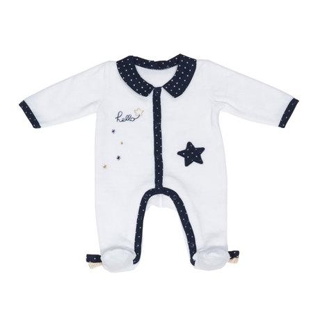88a0ff5c5c849 Pyjama Velours Blanc Garçon 1 mois HELLO SAUTHON Zoom