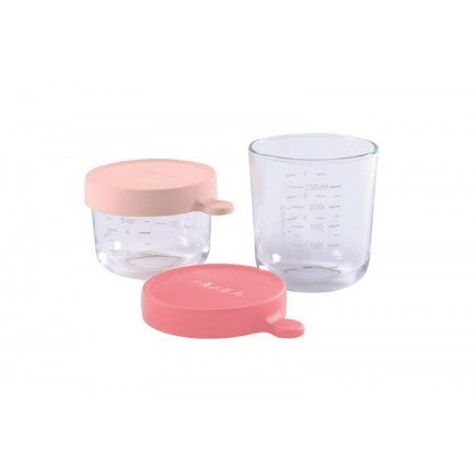 Coffret 2 Portions verre 150/250 ml Pink/Dark Pink BEABA