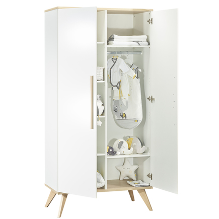 Chambre Lit 70x140 + Commode + Armoire FANON Blanc BEBE9 CREATION - 5