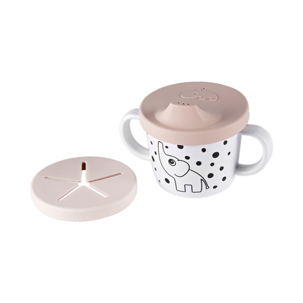 Tasse d'apprentissage silicone double usage rose DONE BY DEER