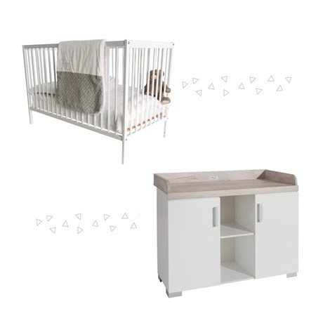 Chambre duo Lit Simply blanc+Commode Metamorphose BEBE9 CREATION