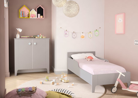 Chambre DUO GUIMAUVE lit 70x140 + Commode BEBE9 CREATION