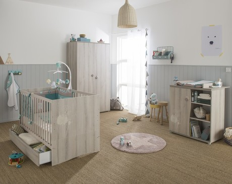 Chambre lit 60x120 + commode + armoire FOREST