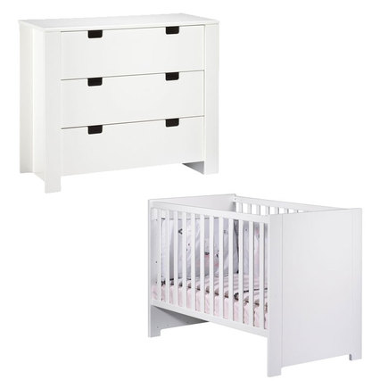 Chambre DUO Lit 70x140 Commode CITY  Blanc SAUTHON