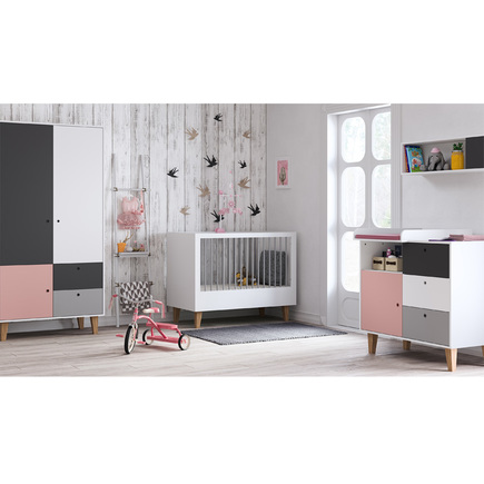 Chambre Concept lit 60x120+commode+armoire Rose VOX