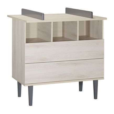Commode 2 tiroirs 3 niches OPALINE Gris  BEBE9 CREATION - 2