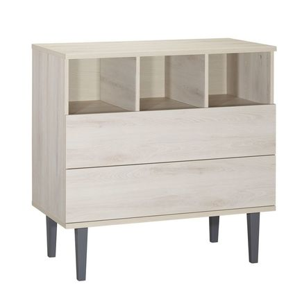 Commode 2 tiroirs 3 niches OPALINE Gris  BEBE9 CREATION
