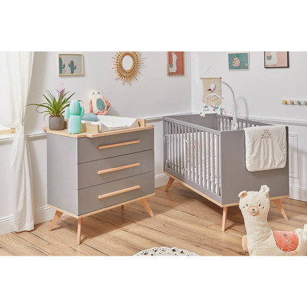 Chambre DUO Lit 70x140 + Commode FANON Gris BEBE9 CREATION