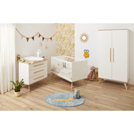 Chambre Lit 60x120 + Commode + Armoire FANON Blanc BEBE9 CREATION