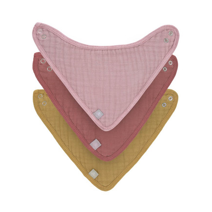 Lot de 3 bandanas en mousseline/éponge Rose Moutarde LASSIG