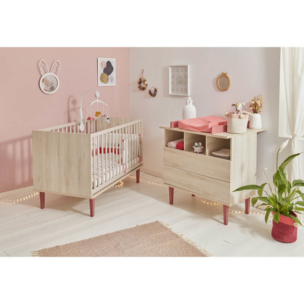 Chambre DUO Lit 60x120 + Commode OPALINE Rose BEBE9 CREATION