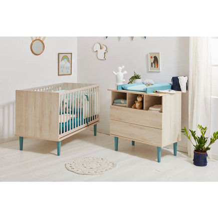 Chambre DUO Lit 70x140 + Commode OPALINE Bleu BEBE9 CREATION