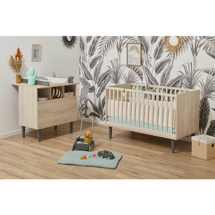 Chambre DUO Lit 60x120 + Commode OPALINE Gris BEBE9 CREATION
