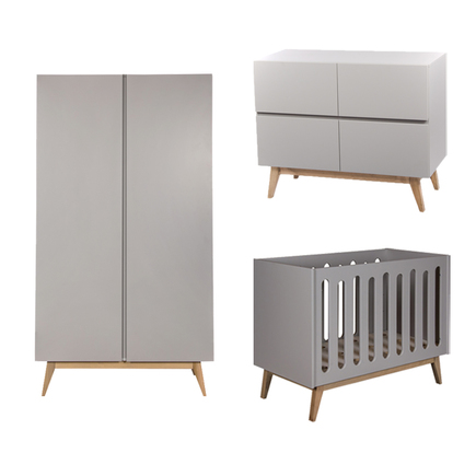 Chambre TRIO Lit 60x120 Commode Armoire TRENDY Griffin Grey QUAX