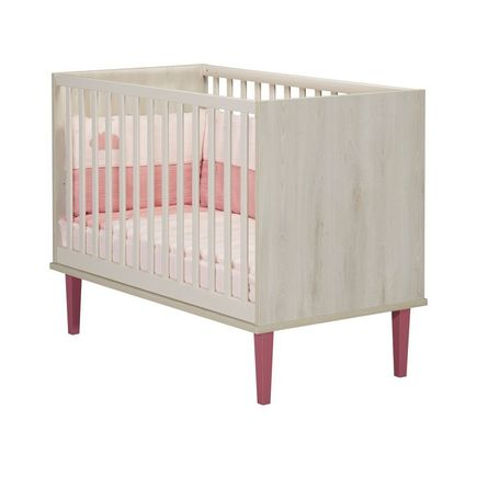 Chambre DUO Lit 60x120 + Commode OPALINE Rose BEBE9 CREATION - 3