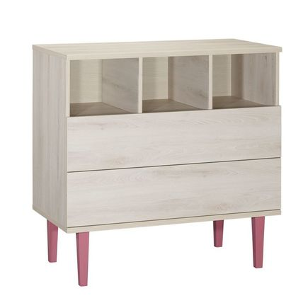 Chambre DUO Lit 60x120 + Commode OPALINE Rose BEBE9 CREATION - 2
