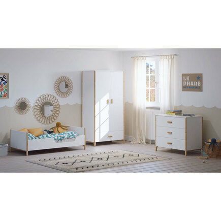 Chambre TRIO Lit 70x140 Commode Armoire OCEANE Neige THEO - 6