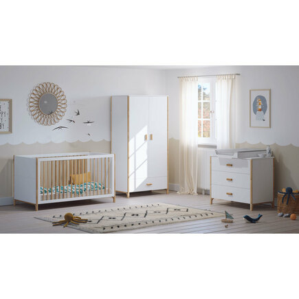 Chambre TRIO Lit 70x140 Commode Armoire OCEANE Neige THEO