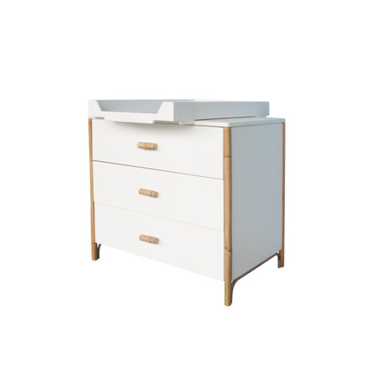 Chambre TRIO Lit 70x140 Commode Armoire OCEANE Neige THEO - 3