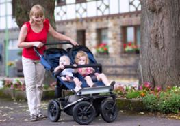 Poussette à deux places Acier Poussette réglable pour bébé jumeaux jumelles