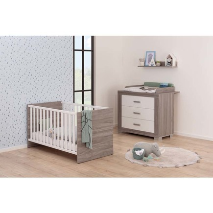 Chambre TRIO Lit 70 Commode Armoire HAUKE Bicolore Pans offert BEBE9 CREATION - 5